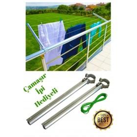 Balkon Çamaşır Kurutma Askılığı Yuvarlak Küpeşte 80x30 + Çamaşır Ipi