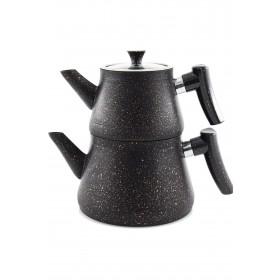Bakalit Kulplu Granit Piramit Çaydanlık Siyah