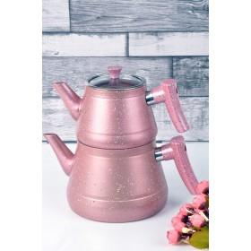 Granit Renkli Çaydanlık Takımı Pembe