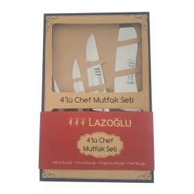 Lazoğlu 4'lü Chef Bıçak Seti