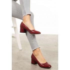 Stacy Bordo Piton Topuklu Ayakkabı